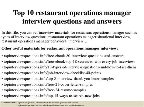 Questions For Production Manager And Answers by Top 10 Restaurant Operations Manager Questions