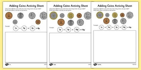 adding coins worksheet money addition resources