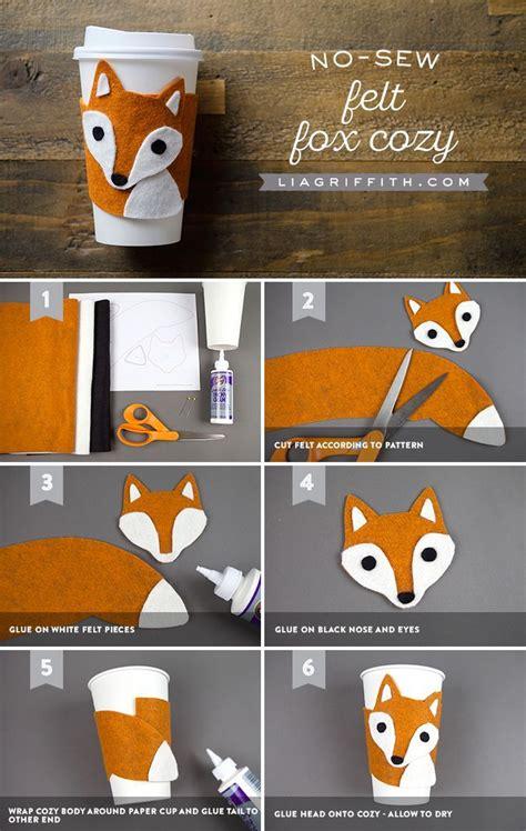 sew diy cup cozy  steps fox crafts felt diy felt
