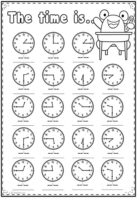 telling time practice page malimo mode time worksheets