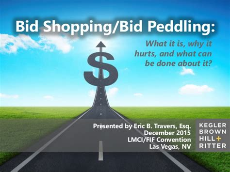 Bid Shopping by Bid Shopping Bid Peddling What It Is Why It Hurts And