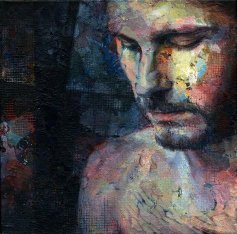 colorful portraits hands  figures painted  david