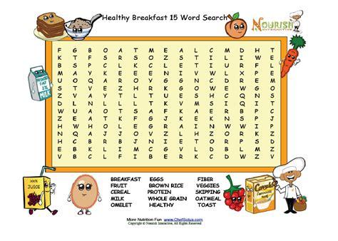 healthy breakfast word search grades 2 5 make