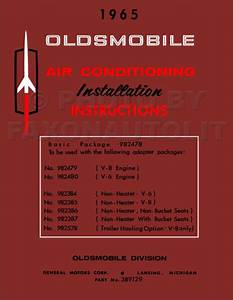 1965 Olds Air Conditioning Installation Manual Oldsmobile