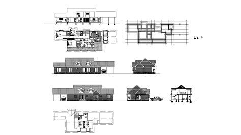 bungalow house design autocad file cadbull