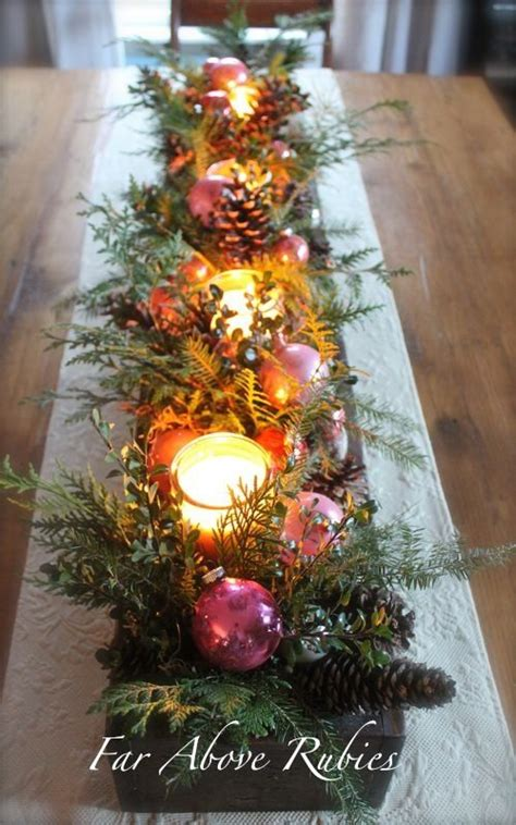 old box filled with vintage glass ornaments pine candles