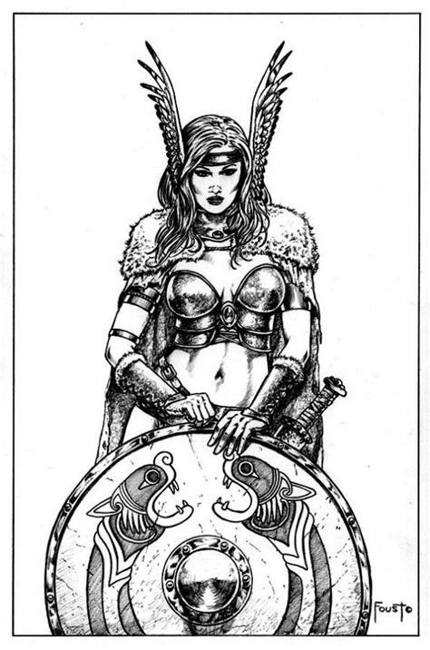Viking, celtic Shield Maiden Tattoo Flash - gorgeous women with swords and shields. What more do