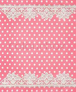 Polka dot background with lace border | Stock Photo ...