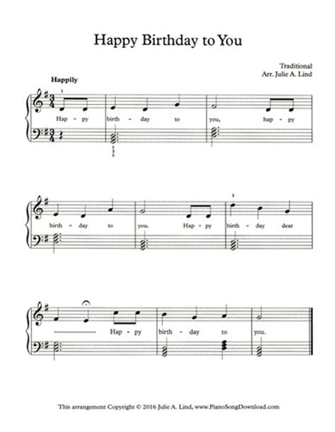 Piano traditional piano traditional piano free sheet music happy birthday to you. Happy Birthday: free easy piano sheet music with chords and lyrics