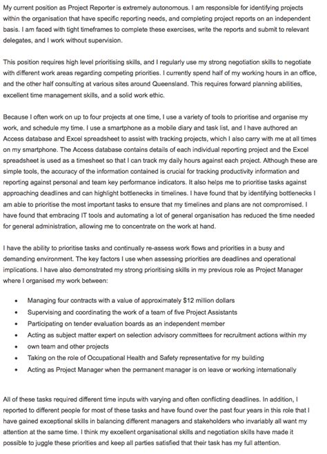 Selection Criteria Cover Letter by Free Selection Criteria Exle Prioritising Skills