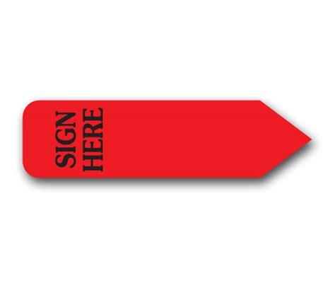 Red Reversible Sign Here  Bulk (750)  Item #51201
