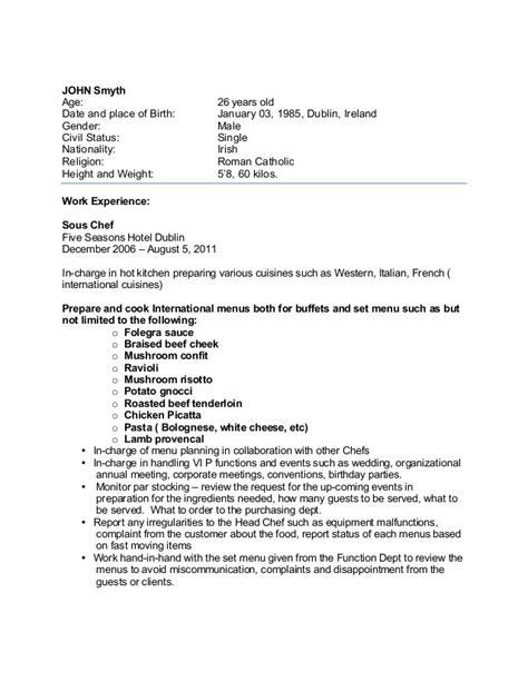 sample chef cv  overseas jobs