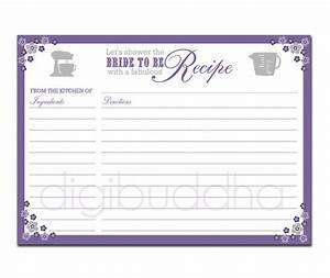 recipe card bridal shower purple floral 5x7 by With bridal shower recipe cards templates