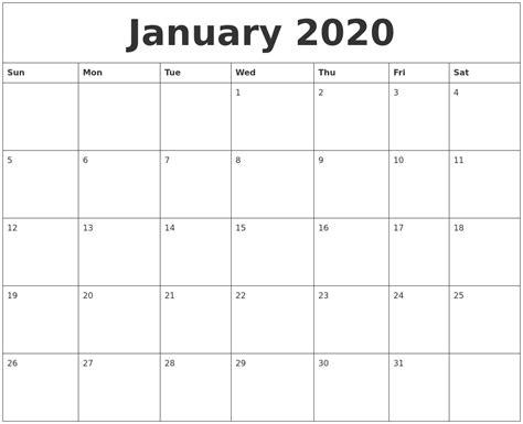 january blank monthly calendar