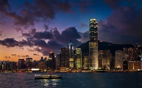 landscape hong kong harbor skyscraper cityscape ferry
