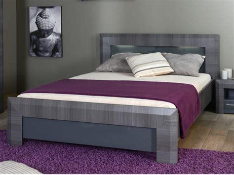 modele de coiffeuse de chambre lit britany 140x190 160x200cm finition orme gris leds