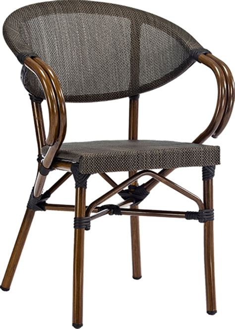 magellan outdoor cast aluminum arm chair with bamboo