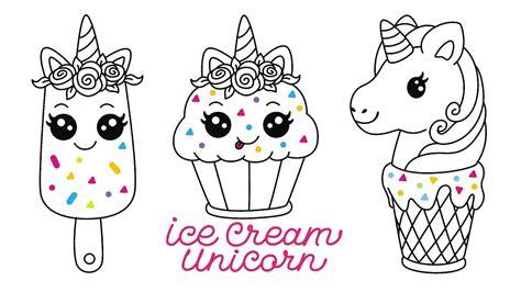 mewarnai gambar cara menggambar es krim unicorn