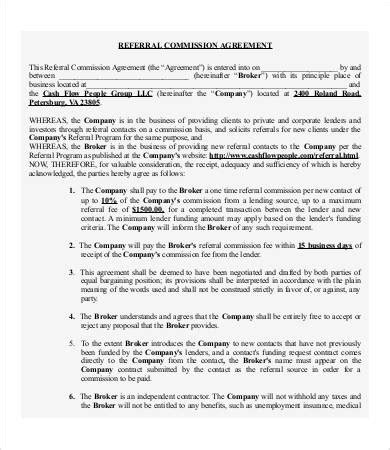 Commission Agreement Template Australia by Referral Agreement Templates 9 Free Pdf Documents