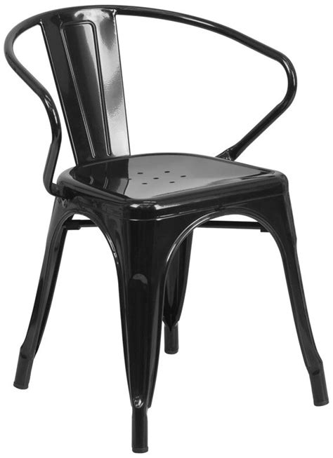 modern black metal chair with arms bar restaurant