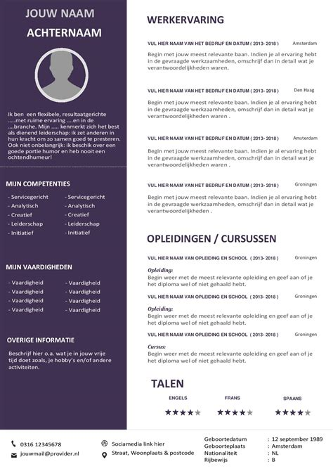 Layout Cv by Curriculum Vitae Voorbeeld Cv 2018