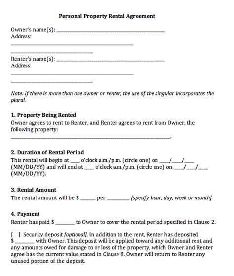 rental agreement generic real estate forms