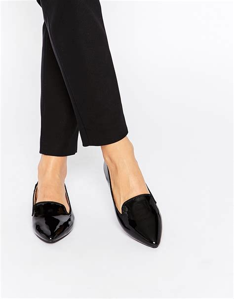oasis black patent pointed flat slipper shoes  black lyst