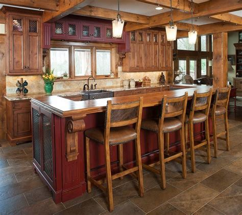 rustic kitchen and island kitchen islands