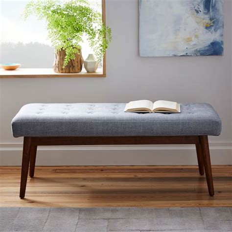 mid century upholstered bench west elm