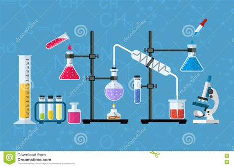 Chemical Glassware, Laboratory. Stock Vector