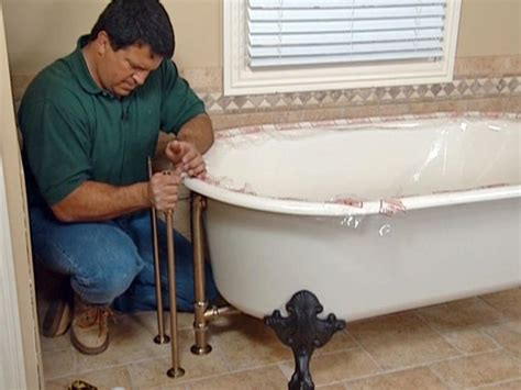 how to install a bathtub how to install plumbing for a claw foot tub how tos diy
