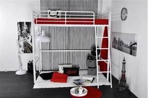 Lit Metal 90x190 : lit mezzanine en m tal blanc en 90x190 lino lit design pas cher ~ Teatrodelosmanantiales.com Idées de Décoration