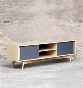 Meuble Tv Vintage Scandinave : meuble tv bas chene bois made in france scandinave ~ Teatrodelosmanantiales.com Idées de Décoration