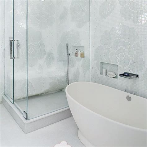 flower mosaic tiles contemporary bathroom modern