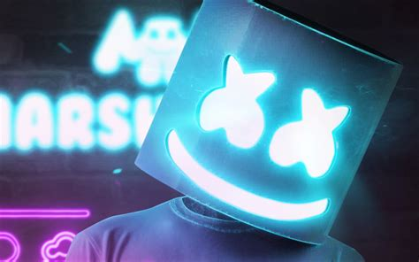 4k Resolution Neon Marshmello Wallpaper 3d by Herunterladen Hintergrundbild Dj Marshmello Blue
