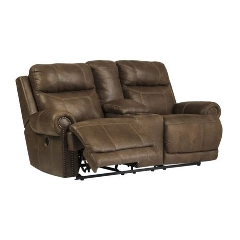 austere power reclining faux leather console