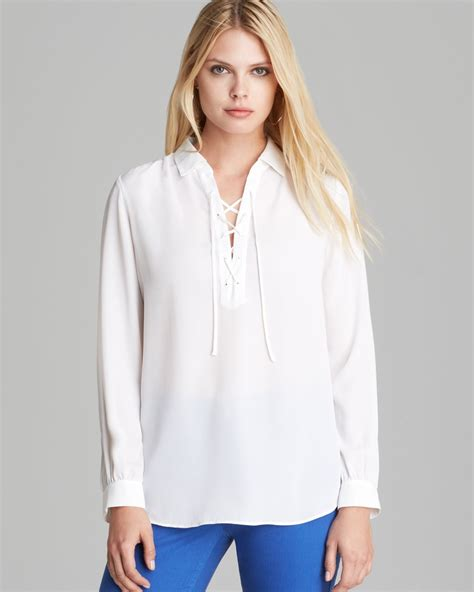 up blouse nydj lace up blouse in white lyst