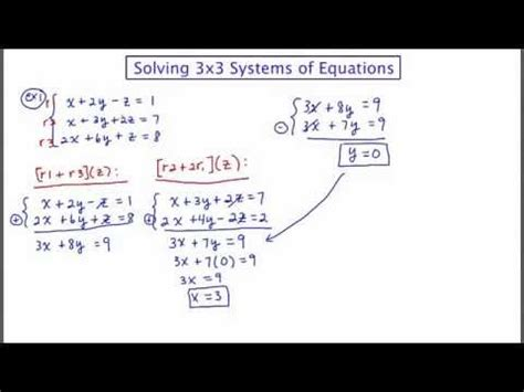 Mathcamp321 Algebra 2  Solving 3x3 Systems Of Equations  Part I Youtube