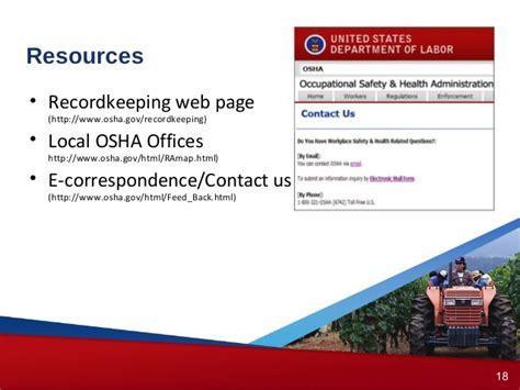 local osha office osha recordkeeping forms by osha