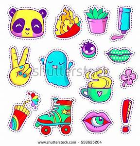 Colorful Vector Patch Badges Animals Characters Stock