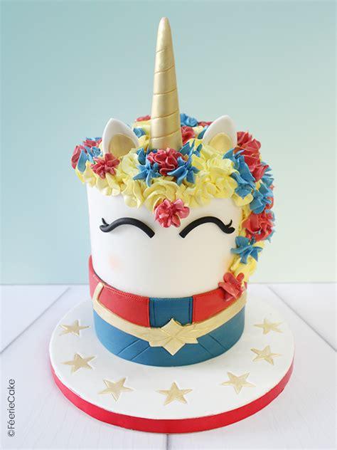 licorne captain marvel en pate  sucre feerie cake