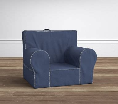 ruffle anywhere chair slipcover only indigo stitch anywhere chair pottery barn