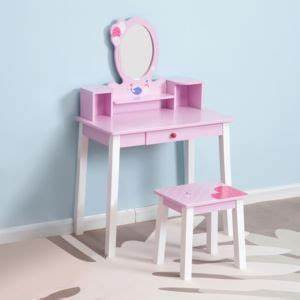 Coiffeuse Bois Enfant : homcom coiffeuse enfant table de maquillage avec tabouret 1 tiroir miroir 59 x 39 x 92 cm ~ Teatrodelosmanantiales.com Idées de Décoration