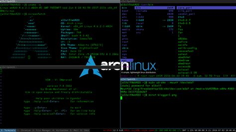 root e13olf arch linux i3 window manager