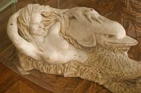 coffee table sculpted stone mermaid siren  vintage furniture dolphin