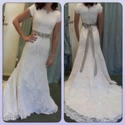 modest lace wedding dresses blush lace modest wedding dress by augusta jones