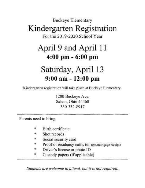 buckeye kindergarten registration announced scs