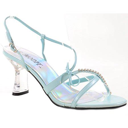 clear jeweled strappy blue  heel  womens heels