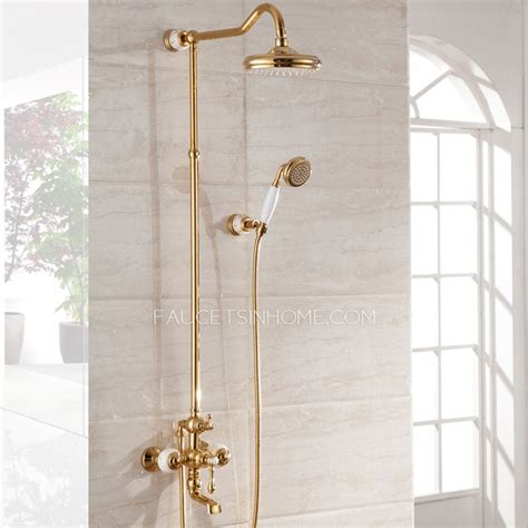 antique polished brass marble bathroom exposed shower faucets