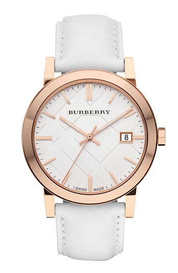 Burberry Check Stamped Round Dial Watch @nordstrom